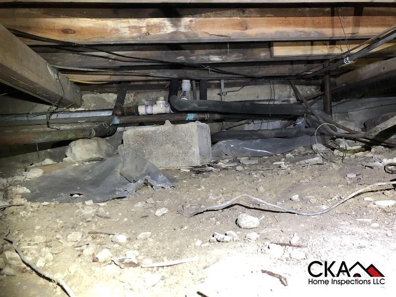 crawl space during inspection